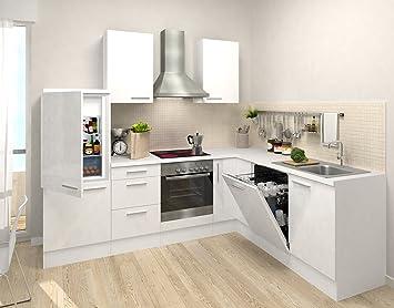 respekta Cocina vacíos de Bloque Premium L de Cocina 260 x 200 cm Cuerpo Blanco Frente de Vainilla Brillante: Amazon.es: Hogar