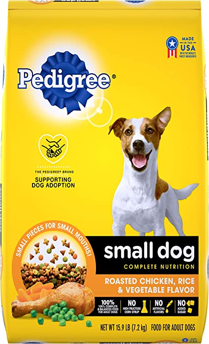 Amazon Com Pedigree Small Dog Adult Complete Nutrition Roasted Chicken Rice Vegetable Flavor Dry Dog Food 15 9 Pounds Pet Supplies