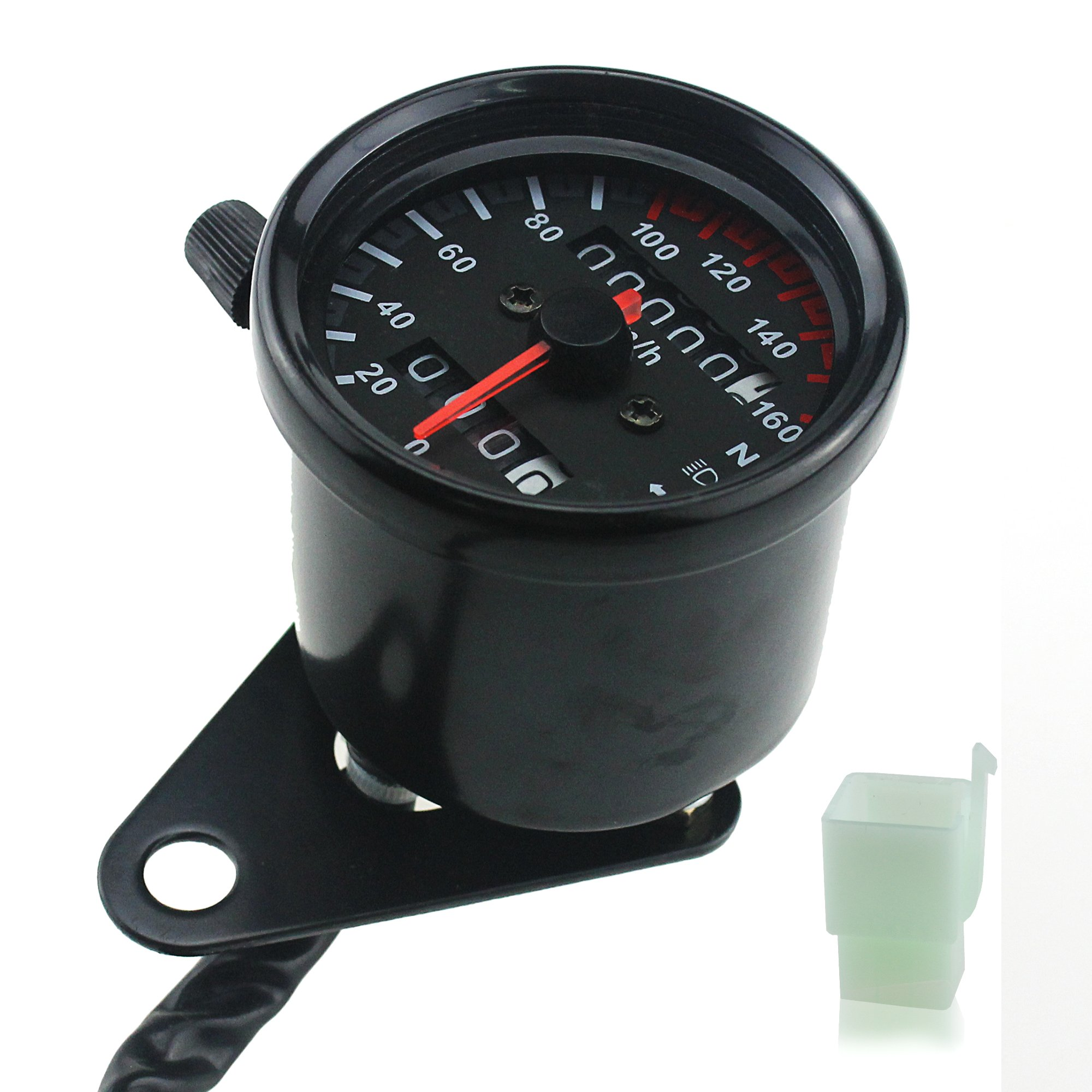 Ambuker Black Motorcycle Dual Odometer Speedometer Gauge LED Backlight Signal Light