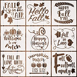 9 Pieces Fall Stencils Reusable Plastic Autumn Stencils Farmhouse Decor Stencils Templates for Painting on Walls Wood Fabrics Glass Furniture, 7.9 Inches