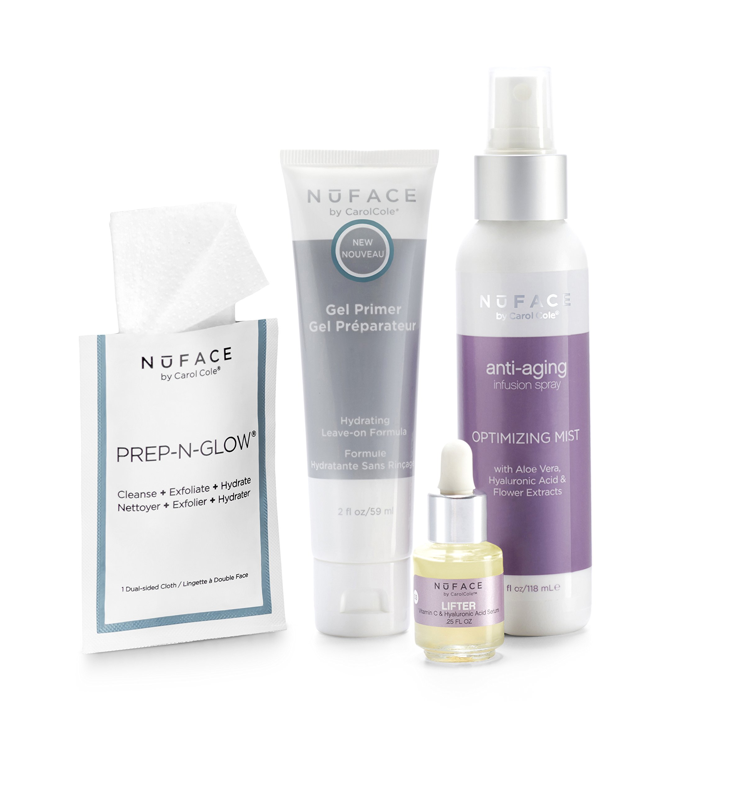 NuFACE Keep Glowing Collection Skincare Kit | Use with NuFACE Device | Smoother Skin, Reduce Wrinkles, Hydrating Renewal | Kit includes: Gel Primer, Optimizing Mist, Serum and Cleansing Cloths
