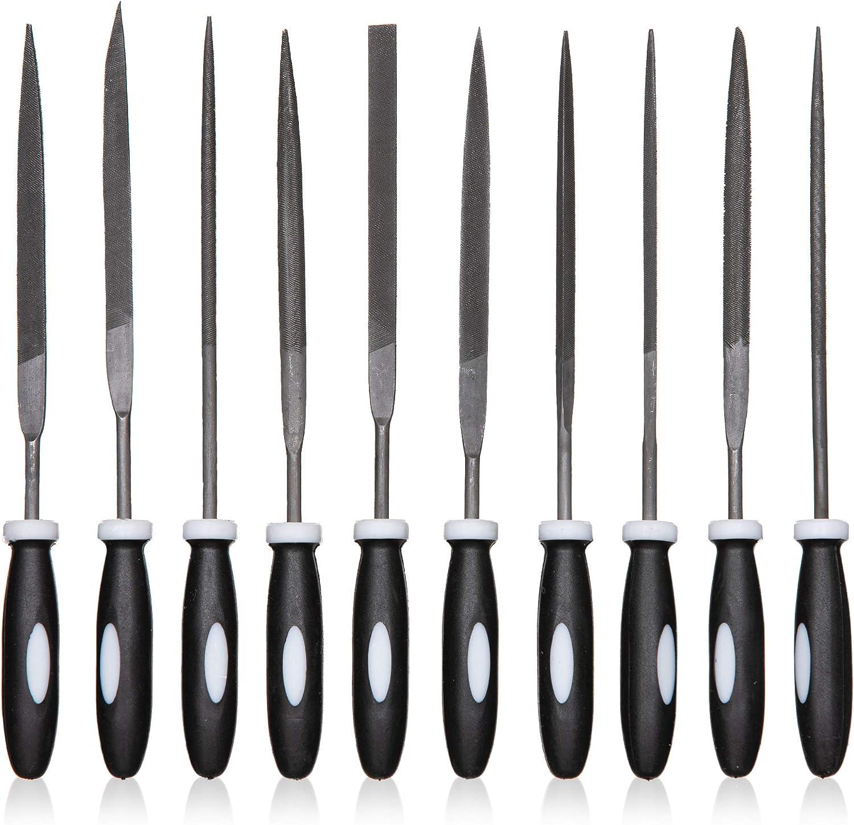 Meccion Juego de 10 limas de agujas de acero al carbono con mango de goma c/ómodo Raspa de metal para archivar mejor para tallado de madera//joyer/ía//afilado de metal suave