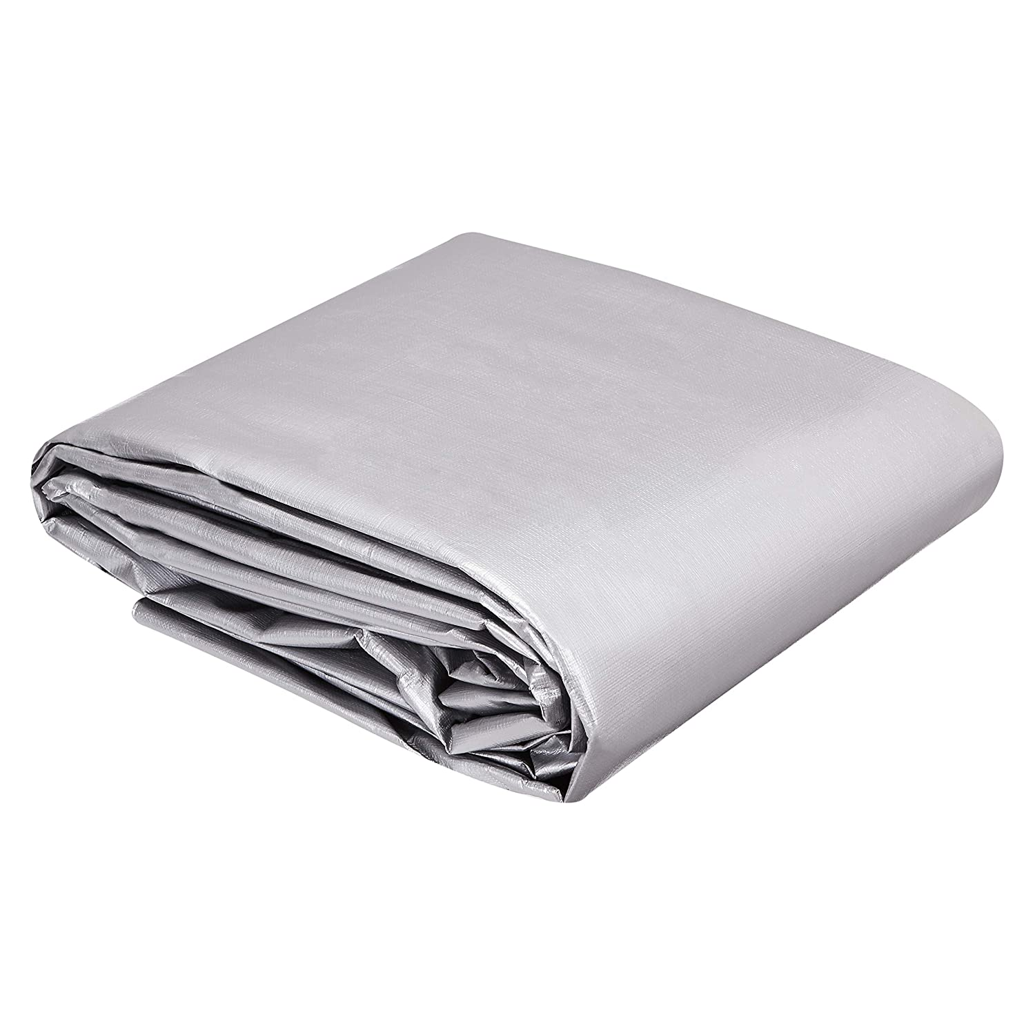 Silver//Black 1-Pack Commercial Multi Purpose Waterproof Poly Tarp Cover 16MIL Thick 12 X 16 FT