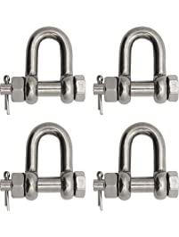 "Extreme Max 3006.8339.4 BoatTector Stainless Steel Bolt-Type Chain Shackle - 1/4"", 4-Pack"