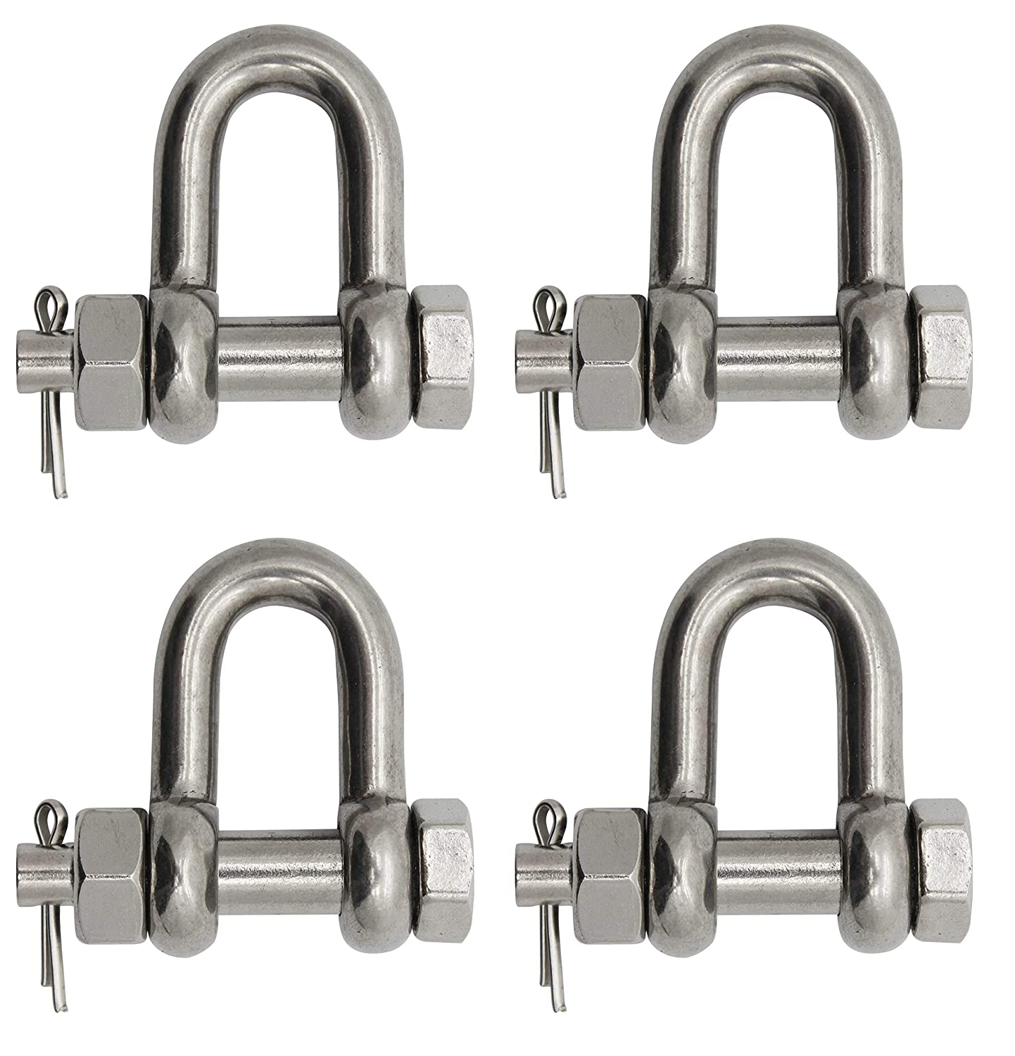 4-Pack Extreme Max Silver Standard 3006.8351.4 BoatTector Stainless Steel Bolt-Type Chain Shackle-1//2
