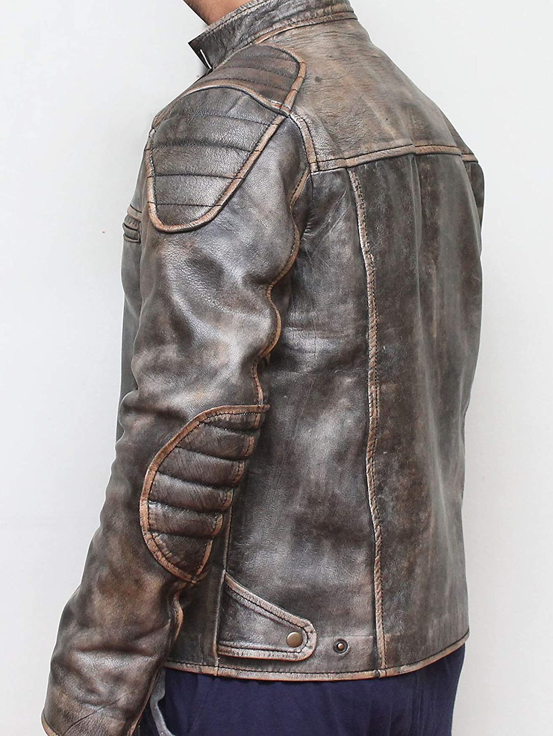 Chicago Trendz Anitque Retro Distressed Grey Motorcycle Real Leather Jacket