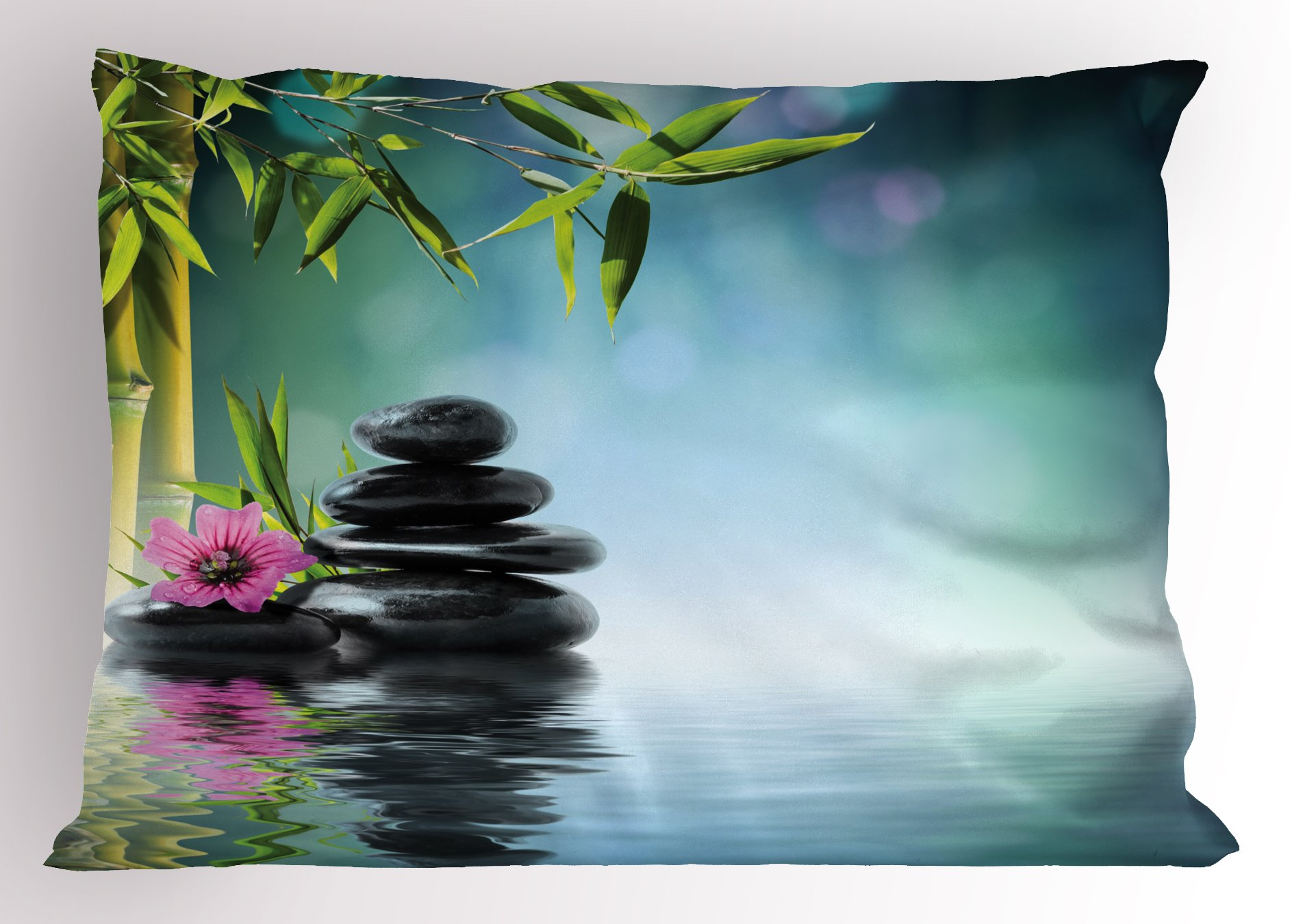 Ambesonne Zen Garden Pillow Sham, Pink Flower Spa Stones and Bamboo Tree on The Water Relaxation Theraphy Peace, Decorative Standard Queen Size Printed Pillowcase, 30 X 20 inches, Multicolor