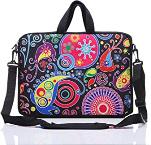"11-Inch to 12-Inch Neoprene Laptop Sleeve Case Bag with shoulder strap For 11"", 11.6"", 12"" Ultrabook/Acer/Asus/Dell/HP/Toshiba/Lenovo/Chromebook (Colorful)"