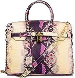 Ainifeel Women's Snakeskin Embossed Genuine Leather Padlock Bag with Shoulder Handbags Purses