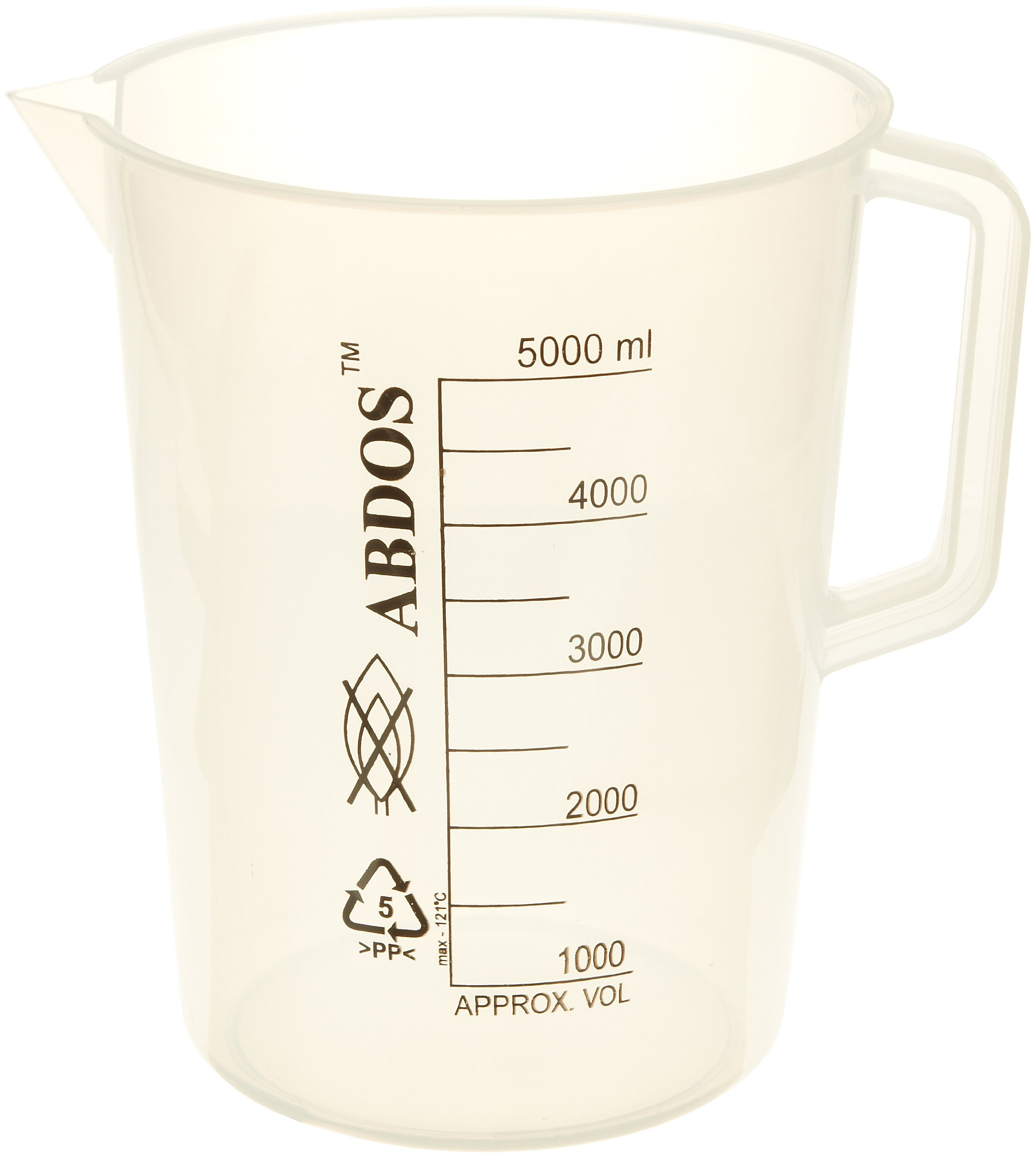 United Scientific P50807 Polypropylene Pitchers with Printed Graduations, 5000ml Capacity (Pack of 2)