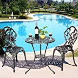 Giantex 3 Piece Bistro Set Cast Tulip Design Antique Outdoor Patio Furniture Weather Resistant Garden Round Table and Chairs w/ Umbrella Hole (Tulip Design)