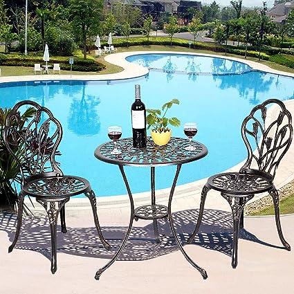 Giantex 3 Piece Bistro Set Cast Tulip Design Antique Outdoor Patio Furniture  Weather Resistant Garden Round
