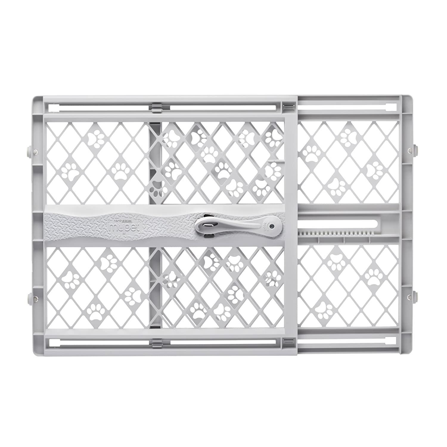 "North States MyPet Paws 42"" Portable Pet Gate: Expands and locks in place with no tools. Pressure Mount. Fits 26""-42"" wide (23"" tall, Light gray)"
