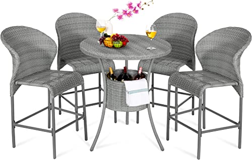 Best Choice Products 5-Piece Outdoor Wicker Bar Table Bistro Set Dining Furniture