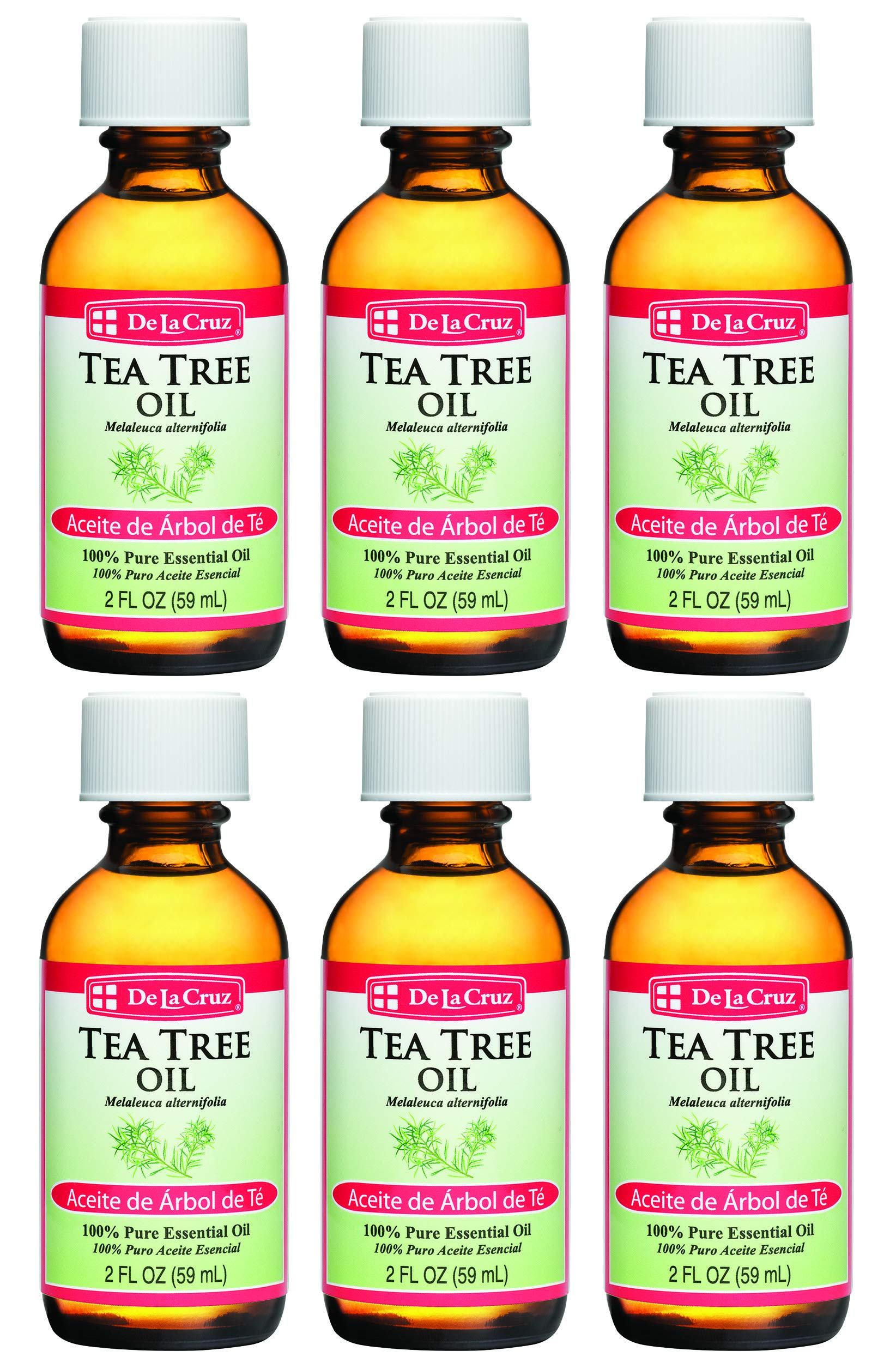 De La Cruz Australian Tea Tree Essential Oil, 100% Pure, Steam-Distilled, Bottled in USA 2 FL. OZ. (6 Bottles) by De La Cruz