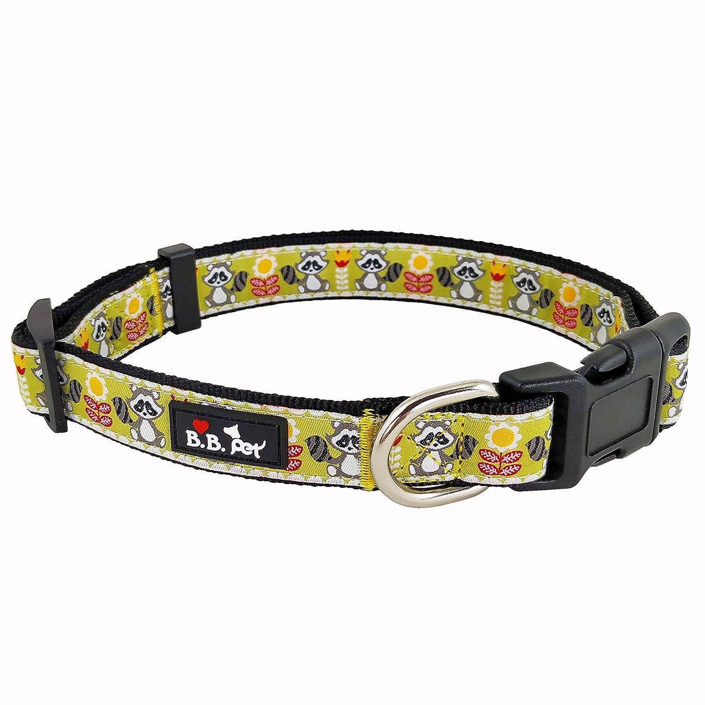 15\ Bestbuddy Pet Fashion Designer Cartoon Raccoon Durable Nylon Ribbon Dog Collar Pet Collar Trendy Comfortable Adjustable Dog Collar with Buckle BBP036