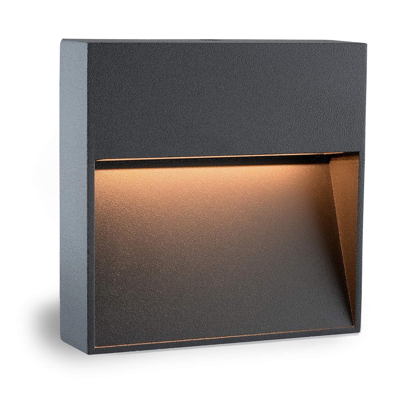 Runde LED Wandleuchte & Treppenlicht MORAVA für den Wandaufbau (Aufputz) IP54 Innen & Außen verwendbar mit 2W in warmweiß [Energieklasse A+] SSC-LUXon