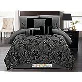 7-Pc Autumn Vine Twig Flower Floral Bloom Silhouette Comforter Set Dark Gray Black Queen