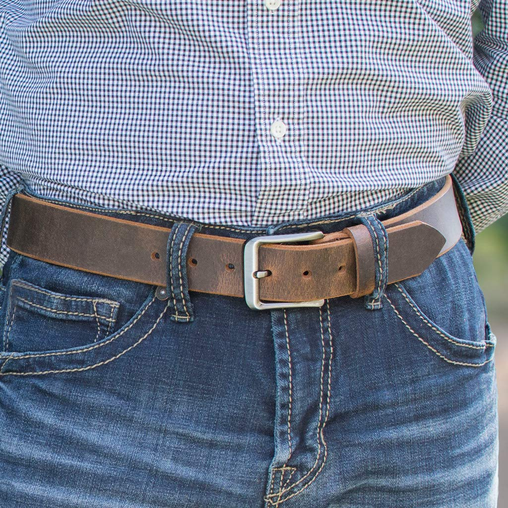 Brown Genuine Full Grain Leather Belt with Nickel Free Buckle Roan Mountain Distressed Leather Belt Nickel Smart