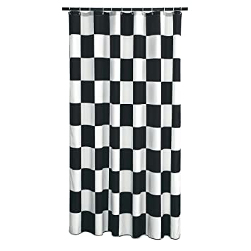 75f48425275cb Extra Long Shower Curtain 72 x 78 Inch Gamma Checkered Flag Black And White  Fabric