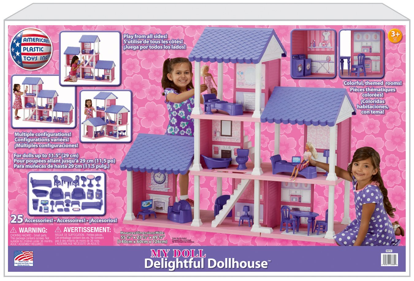 House Toys For Girls : Barbie size dollhouse furniture girls playhouse dream play plastic
