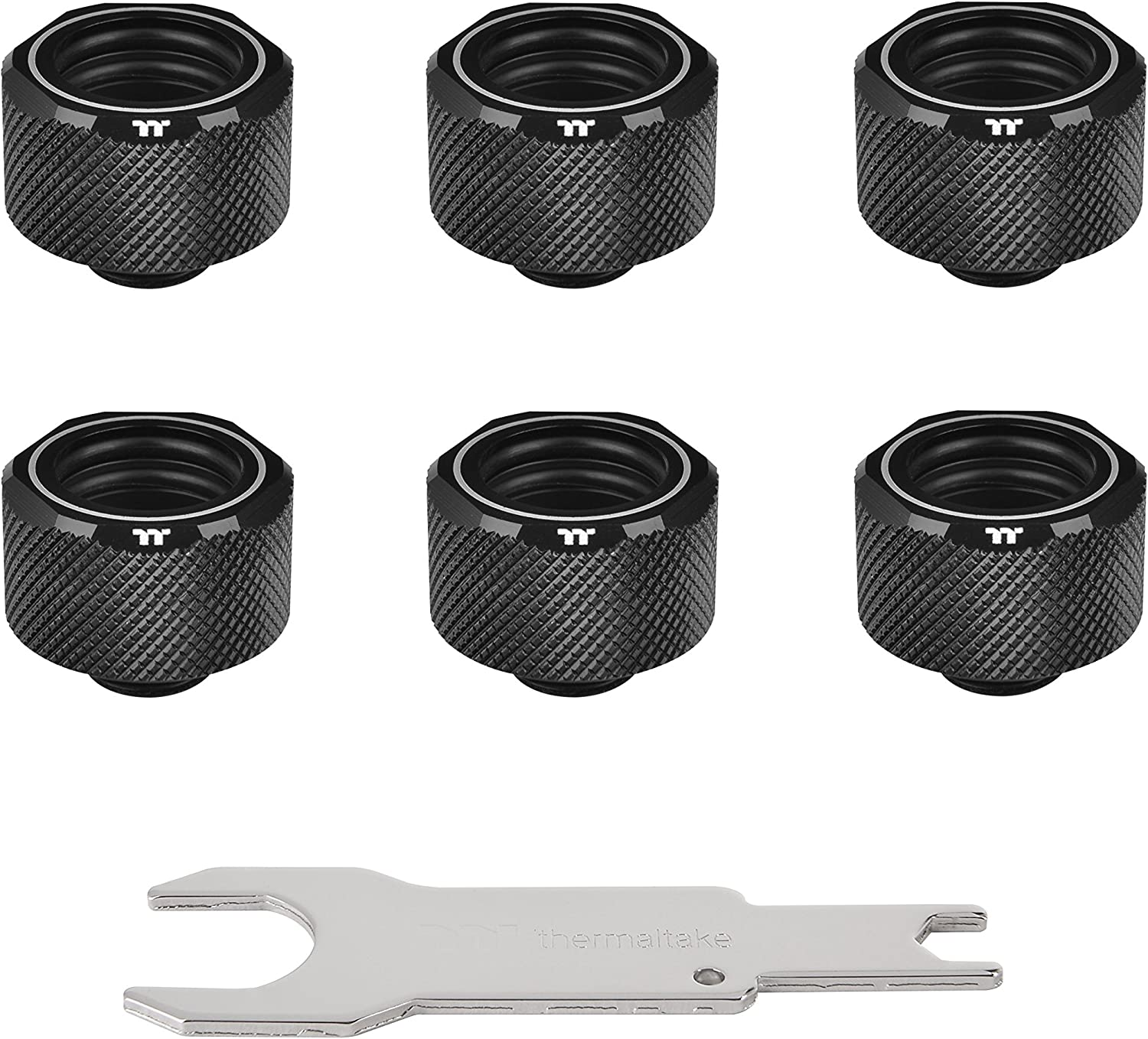 Thermaltake Pacific Black 4 Build-in O-Rings C-Pro G1/4 PETG 16mm OD Compression Fitting 6 Pack CL-W214-CU00BL-B