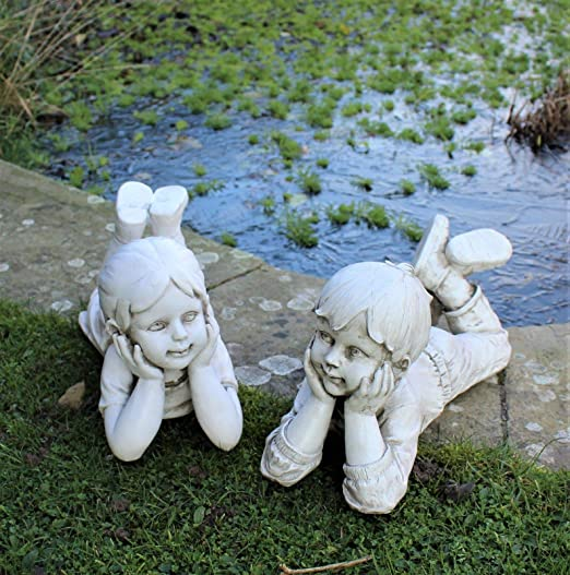 Estatuas grandes de niño y niña para decoración del hogar y jardín, juego de regalo: Amazon.es: Jardín