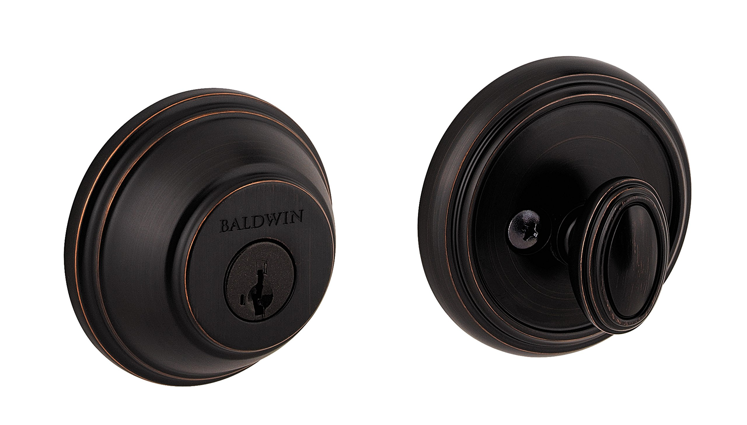 Baldwin Prestige 380 Round Single Cylinder Deadbolt Featuring SmartKey in Venetian Bronze