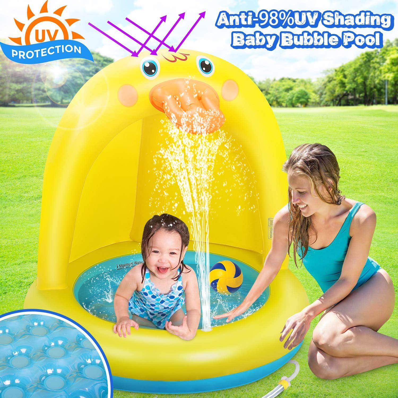 Dookey Piscina Inflable para Bebés, Hinchable Infantil, Pequeña Pato Amarillo Splash Pool para Niños, Aspersor de Juego con Fondo de Burbuja Inflable de Doble Capa para Jardín/Piscina/Playa