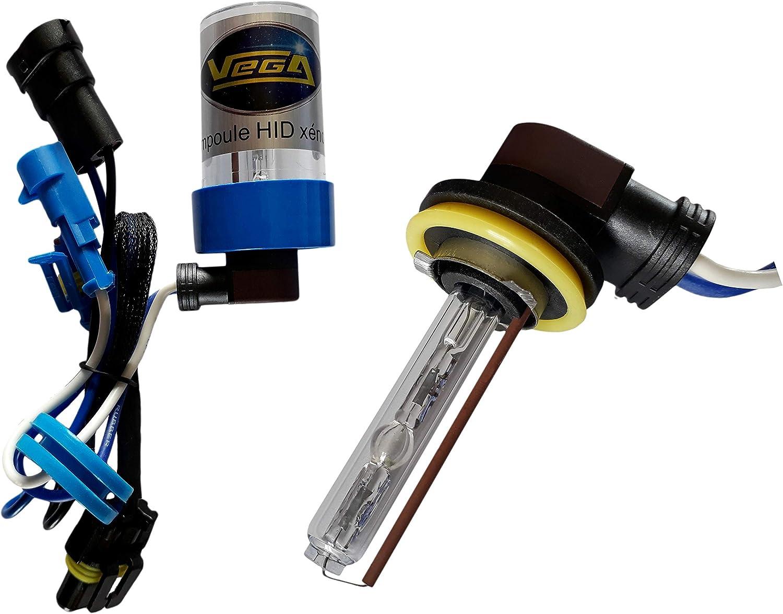 1 ampoule HID X/énon marque FRANCAISE Vega/® H9 6000K 55W /à embase coud/ée haut de gamme