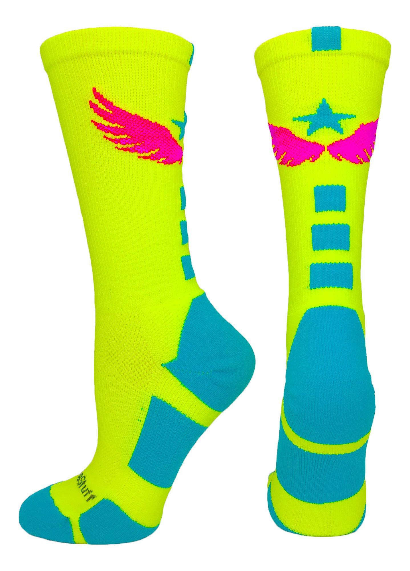 MadSportsStuff Light Speed Athletic Crew Socks (Neon Yellow/Electric Blue/Neon Pink, Medium) by MadSportsStuff