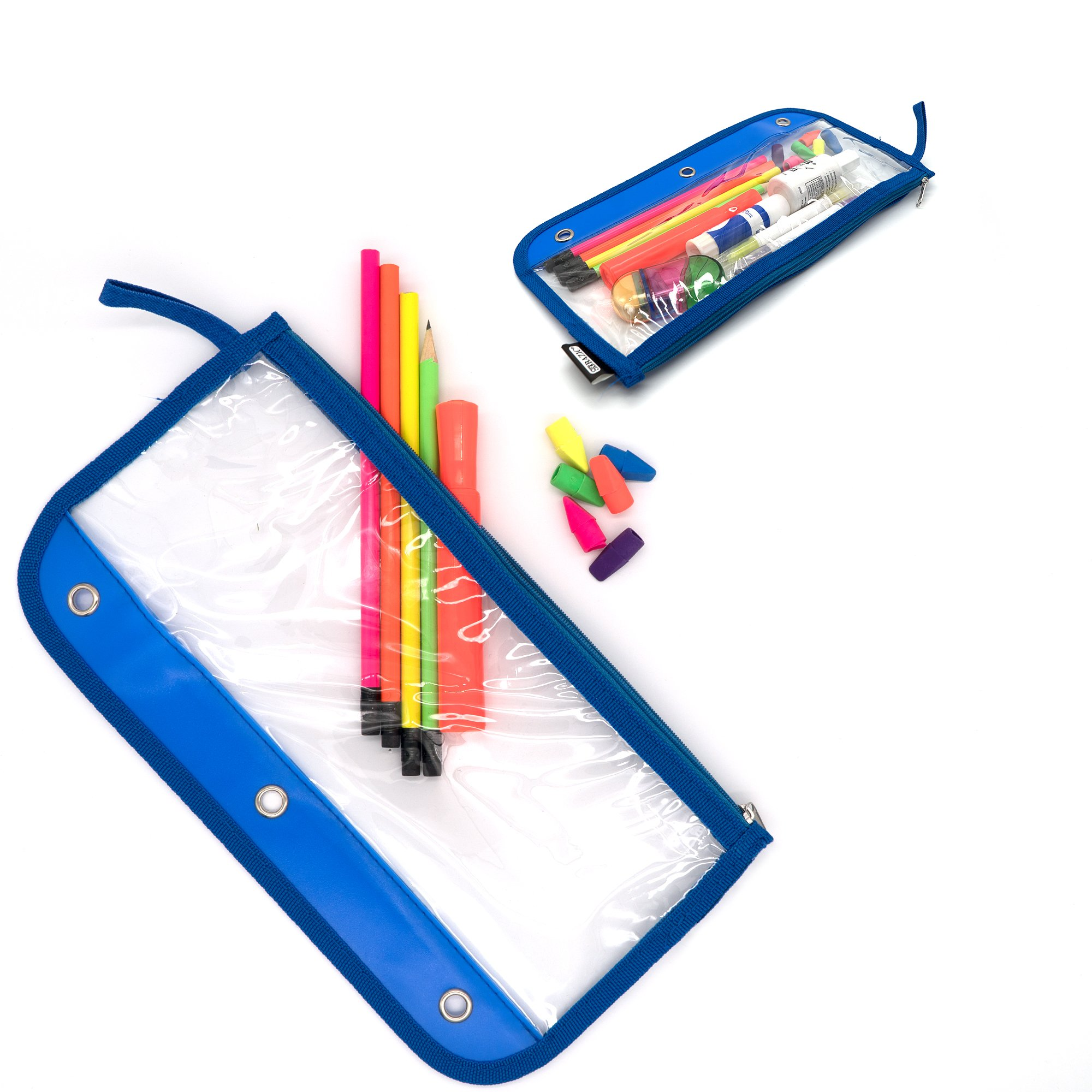 Emraw Zipper Pencil Pouch with 3-Ring Grommet Holes - Pencil case with Clear Window for Binder & Zipper Pouch (6-Pack) by Emraw (Image #4)