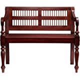 Southern Enterprises Classic Entryway Bench with Turned Legs, Solid Warm Mahogany Finish