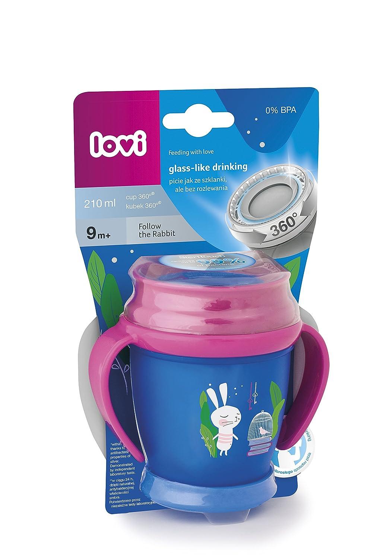 210 ml color rosa dise/ño Follow the rabbit LOVI Mini Taza 360/º con asas