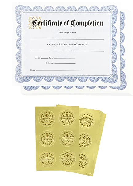 amazon com certificate papers 48 certificate of completion award
