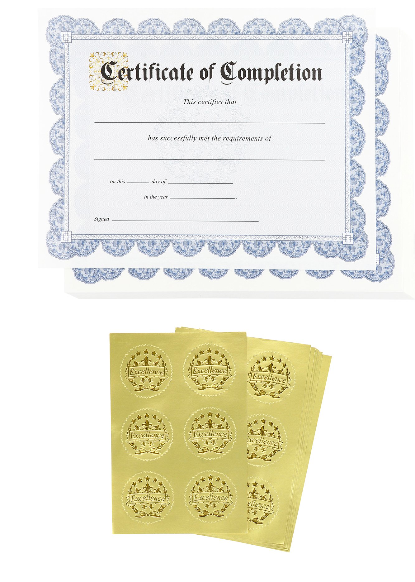 Certificate Papers – 48 Certificate of Completion Award Certificates with 48 Excellence Gold Foil Seal Stickers, for Student, Teacher, Professor, Blue, 8.5 x 11 inches
