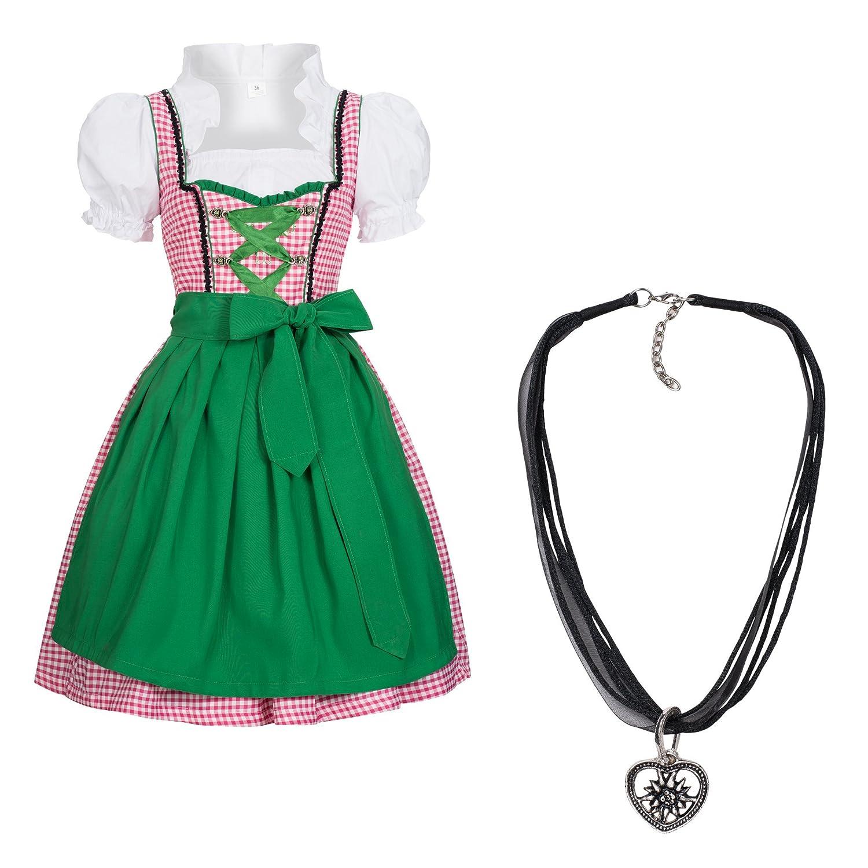 Gaudi-Leathers, 4 tlg Dirndl Set Trachtenkleid Joy rosa weiß kariert, Dirndlbluse, Schürze grün + Dirndlkette