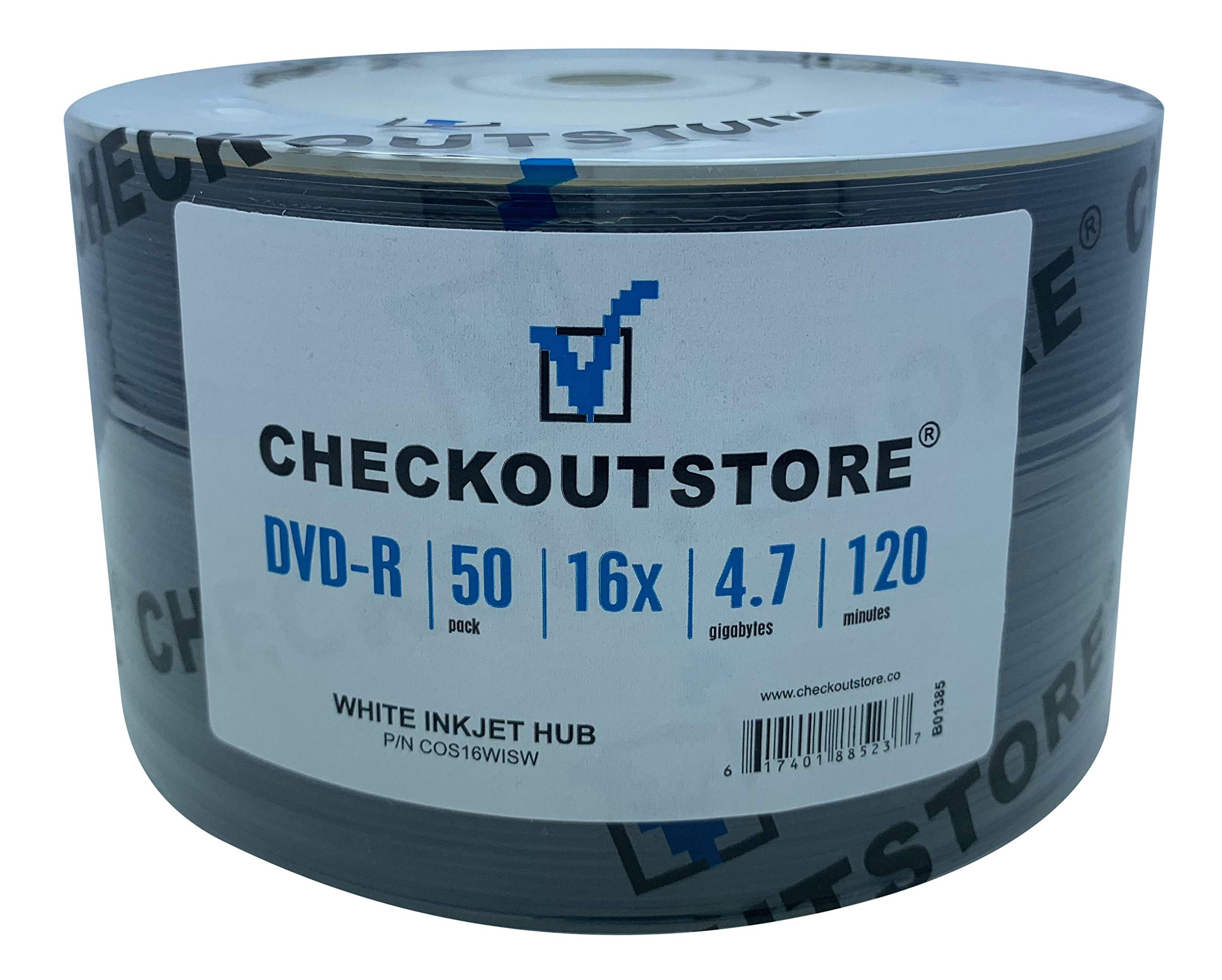 CheckOutStore (600 Premium 16x DVD-R 4.7GB in Tape Wrap (White Inkjet Hub)