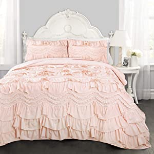 Lush Decor Kemmy Quilt Ruffled Textured 2 Piece Twin Size Bedding Set, Blush