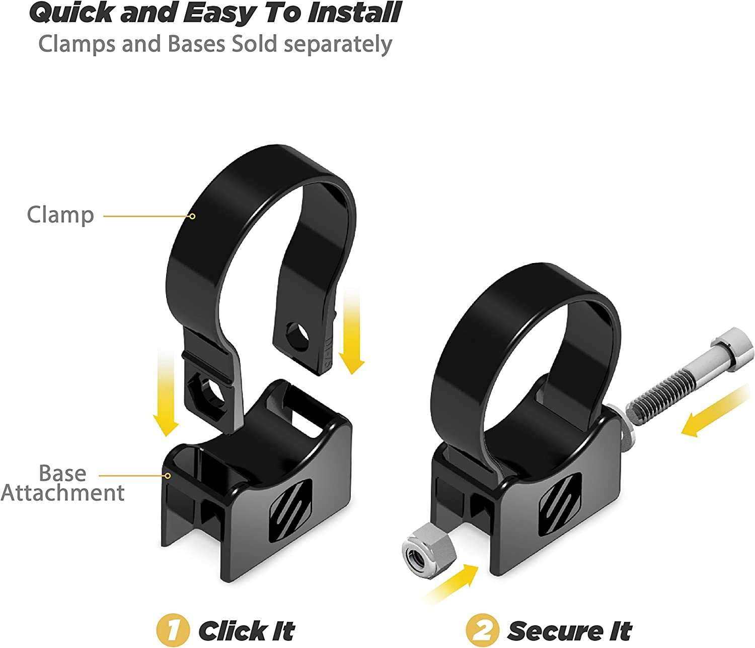"""Scosche PSC21012 Base 2.0/"""" Tube Clamp for ATVs UTVs x Sides"""