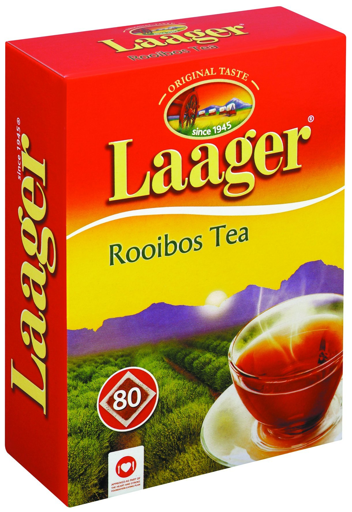 Laager South African Rooibos Tea - 80 count, 7 oz, 100% Natural Tea, Caffeine Free, Healthy and Pure, Red Bush Herbal Tea. Rich in Vitamins and Antioxidant (80 Count) by Laager