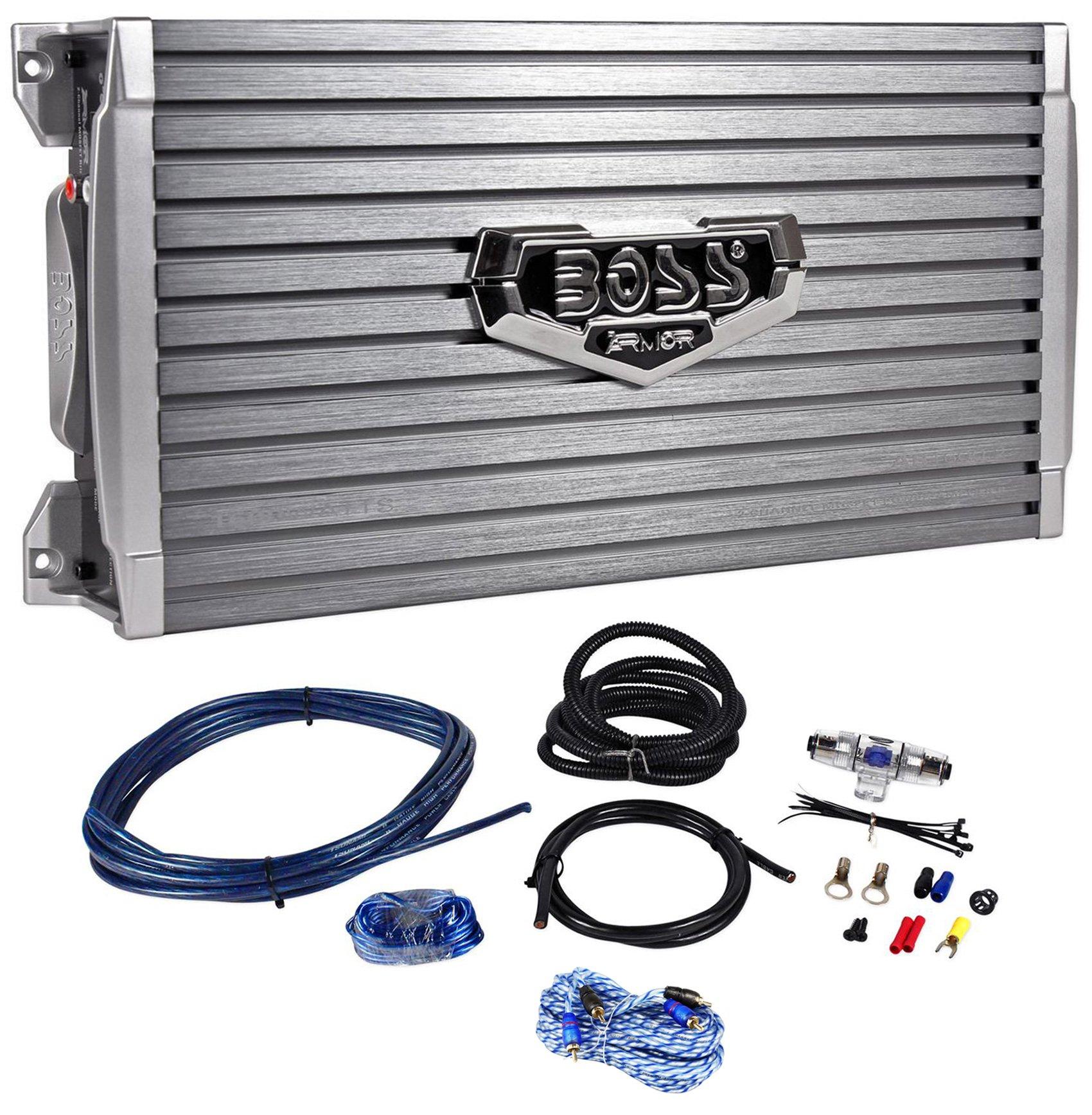 Boss Audio Armor AR1600.2 1600 Watt 2-Channel Car Audio Amplifier+Remote+Amp Kit