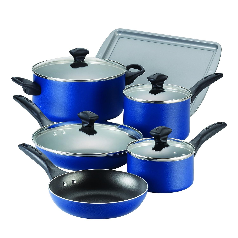 Farberware Dishwasher Safe Nonstick Aluminum 15-Piece Cookware Set, Blue 21891