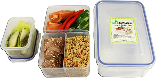 Leakproof Bento Lunch Box Airtight Food Storage Container 3 Compartment