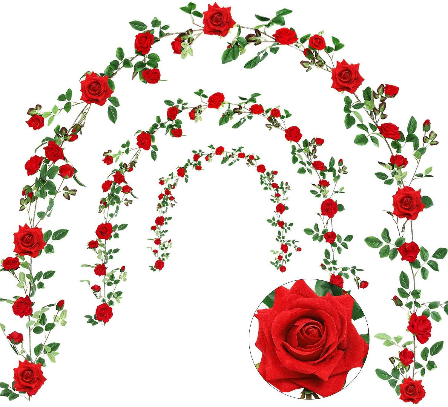 Veryhome Rose Vine Artificial Flower Garland Fake Hanging Rose Ivy Plants 6ft for Wedding Home Party Garden Arrangement Decor Pack of One (Red)
