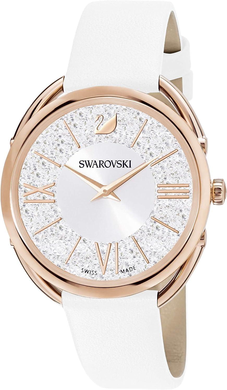 Swarovski Reloj Crystalline Glam, Correa de piel, blanco, PVD en tono Oro Rosa