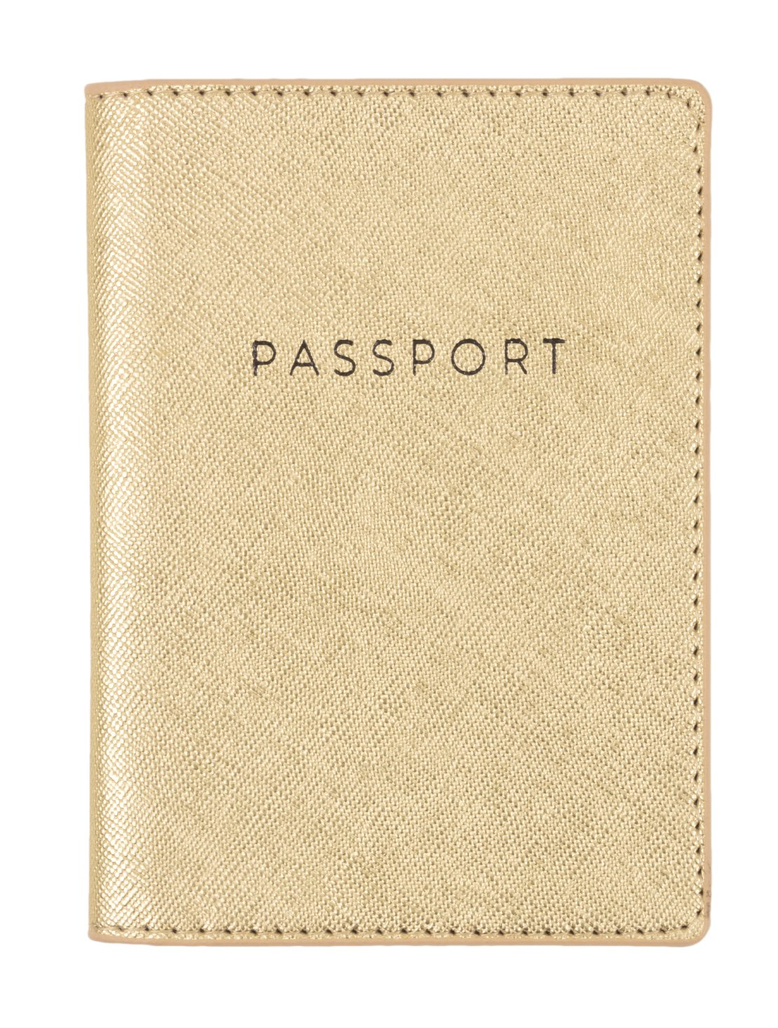 Eccolo World Traveler D916A Passport Cover, Gold Shimmer, Solid