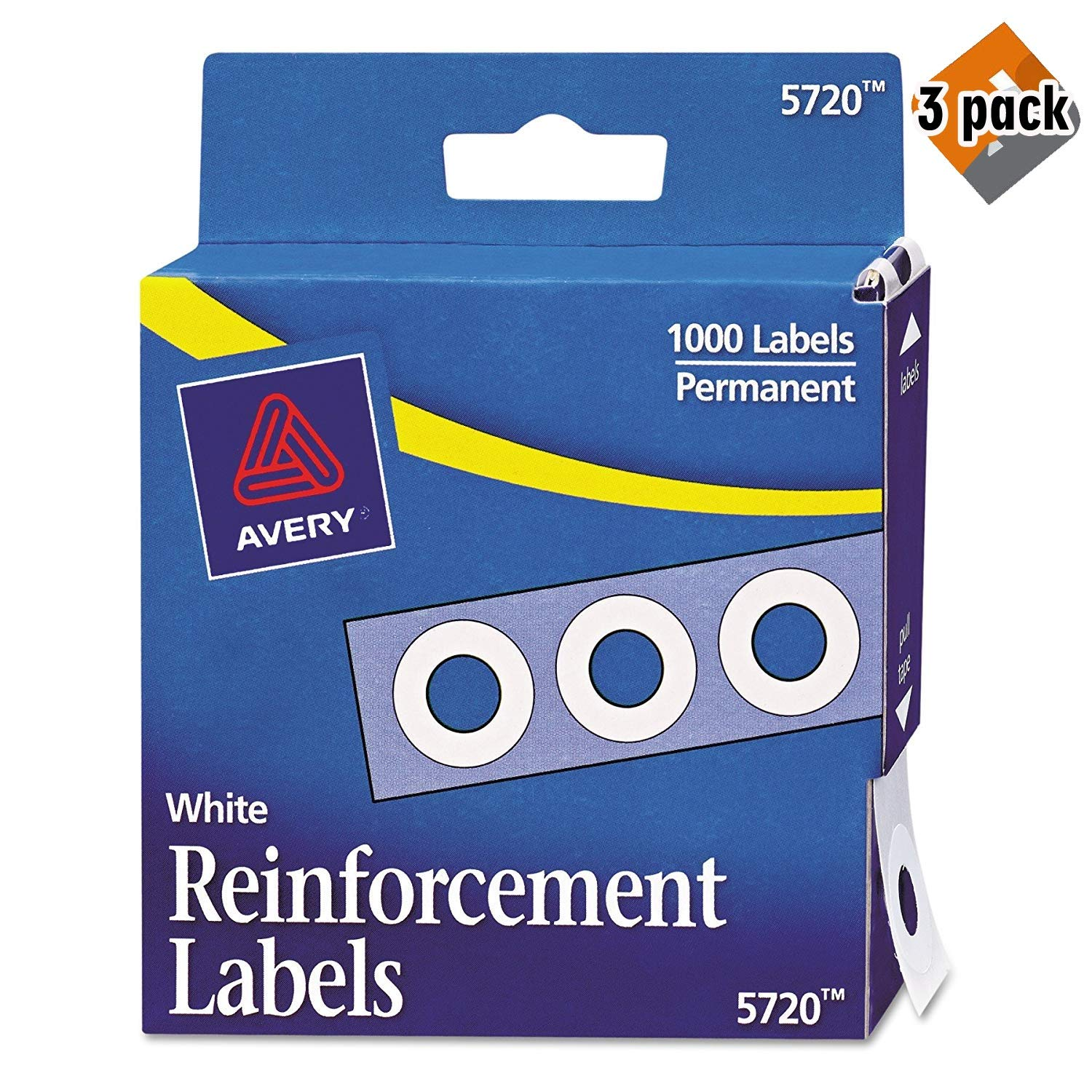 Avery Hole Reinforcements, White, 1000/Pack, PK - AVE05720, 3 Pack by AVERY