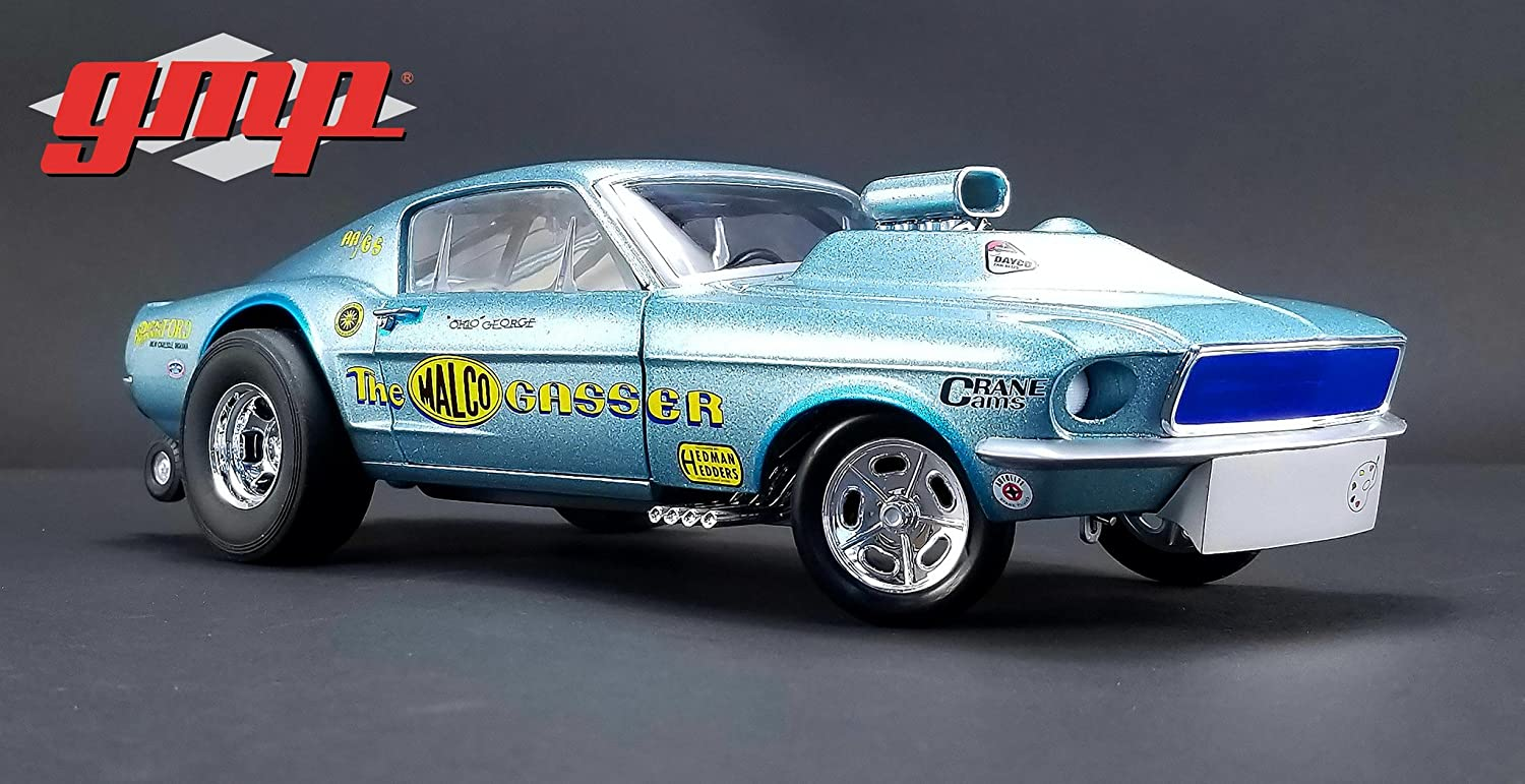 Ohio georges 1967 ford mustang malco gasser with airplow front spoiler limited edition to 900 pieces worldwide 1 18 diecast model car by gmp 18879