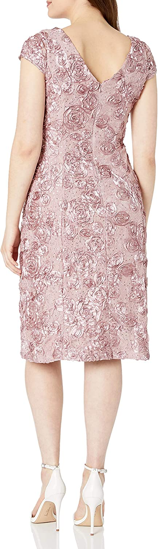 Alex Evenings Women's Tea Length Dress with Rosette Detail: Clothing